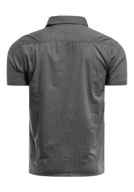 Sivá pásikavá košeľa s vreckami na hrudi pre pánov
