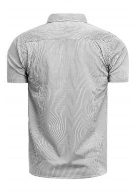 Pásikavé pánske košele bielej farby s vreckami na hrudi
