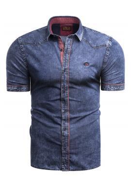 Pánska riflová košeľa s krátkym rukávom v modrej farbe