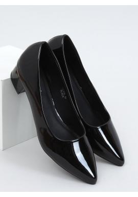 Lakované dámske lodičky čiernej farby na nízkom podpätku