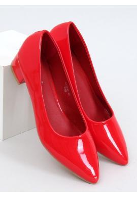 Červené lakované lodičky na nízkom podpätku pre dámy