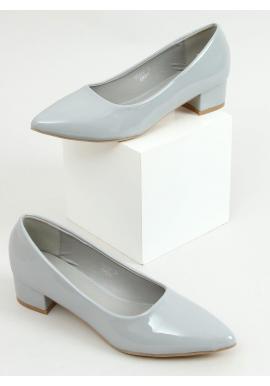 Sivé lakované lodičky na nízkom podpätku pre dámy