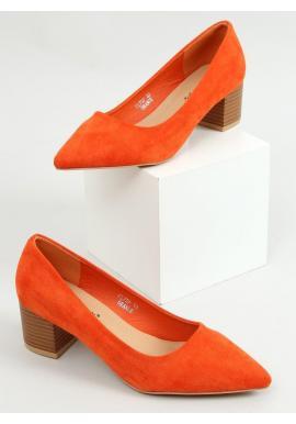Dámske semišové lodičky na drevenom podpätku v oranžovej farbe