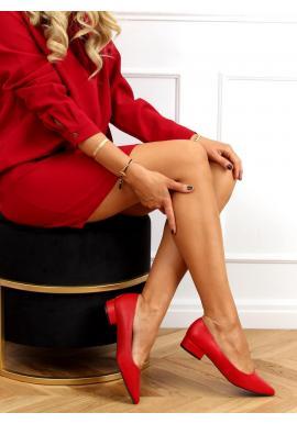 Červené klasické lodičky na nízkom podpätku pre dámy