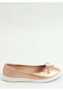 Ružovo-zlaté športové balerínky s mašľou pre dámy