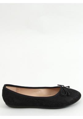 Čierne čipkované balerínky s mašľou pre dámy