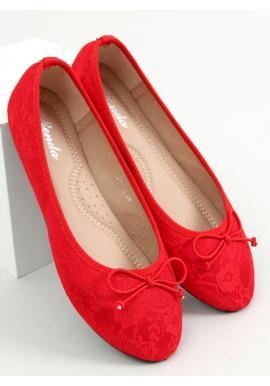 Červené čipkované balerínky s mašľou pre dámy