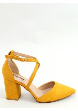 Semišové dámske lodičky žltej farby na širokom podpätku
