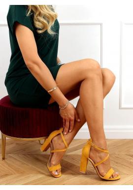 Žlté semišové sandále na stabilnom podpätku pre dámy
