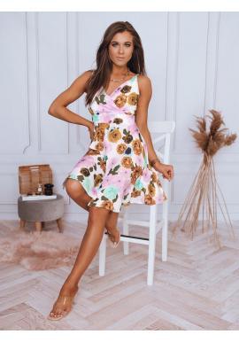 Dámske kvetované šaty na ramienka v bielej farbe