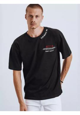 Módne pánske tričko čiernej farby s potlačou a nášivkami
