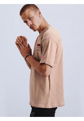 Pánske módne tričko s potlačou a nášivkami v béžovej farbe