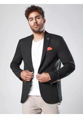 Čierne neformálne sako so záplatami pre pánov