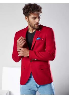 Bordové jednoradové sako v neformálnom štýle pre pánov
