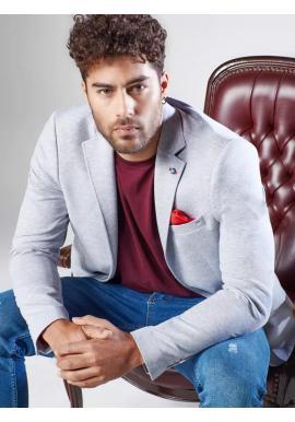 Jednoradové pánske sako sivej farby v neformálnom štýle