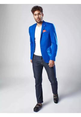 Modré jednoradové sako v neformálnom štýle pre pánov