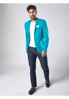 Jednoradové pánske sako tyrkysovej farby v neformálnom štýle