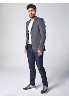 Pánske jednoradové sako v neformálnom štýle v tmavosivej farbe