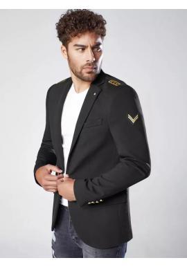 Pánske módne sako s nášivkami v čiernej farbe