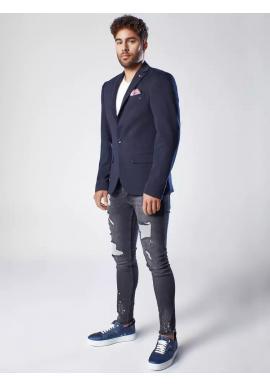 Tmavomodré neformálne sako s ozdobnými gombíkmi pre pánov