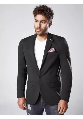 Neformálne pánske sako čiernej farby s ozdobnými gombíkmi
