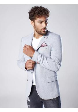 Pánske neformálne sako s ozdobnými gombíkmi v sivej farbe