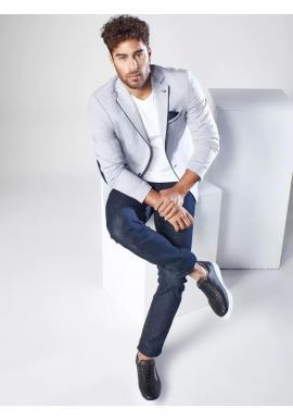 Sivé neformálne sako so záplatami pre pánov