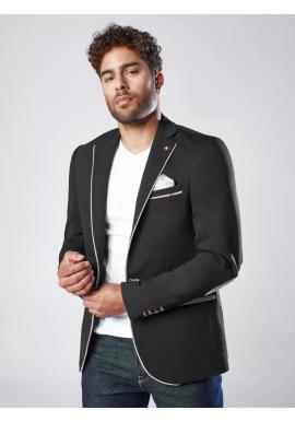 Pánske neformálne sako so záplatami v čiernej farbe