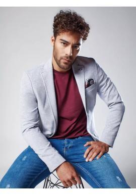 Svetlosivé jednoradové sako v neformálnom štýle pre pánov