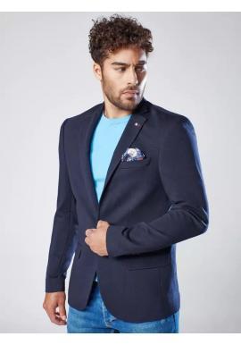 Jednoradové pánske sako tmavomodrej farby v neformálnom štýle