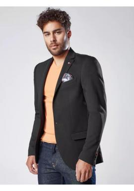 Pánske jednoradové sako v neformálnom štýle v čiernej farbe