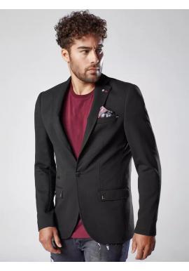 Čierne neformálne sako s ozdobnými gombíkmi pre pánov