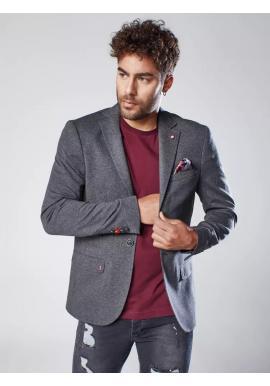 Pánske neformálne sako s ozdobnými gombíkmi v tmavosivej farbe