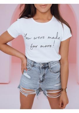Klasické dámske tričko bielej farby s nápisom