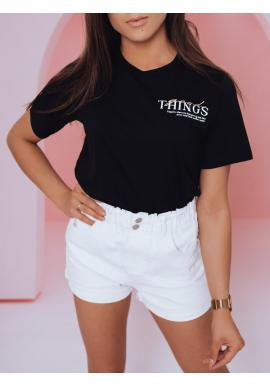Čierne módne tričko s potlačou pre dámy