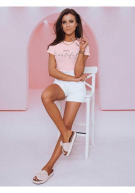 Klasické dámske tričko ružovej farby s minimalistickým nápisom