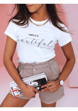 Biele klasické tričko s minimalistickým nápisom pre dámy
