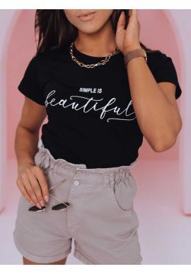 Dámske klasické tričká s minimalistickým nápisom v čiernej farbe
