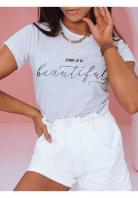 Klasické dámske tričko svetlosivej farby s minimalistickým nápisom