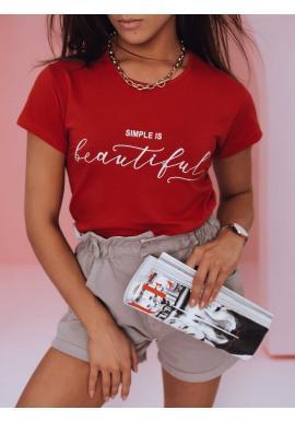 Červené klasické tričko s minimalistickým nápisom pre dámy
