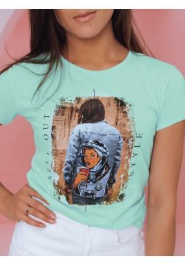 Dámske štýlové tričko s potlačou v mätovej farbe