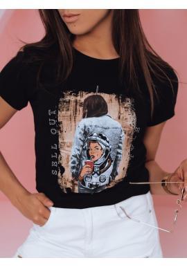 Štýlové dámske tričká čiernej farby s potlačou