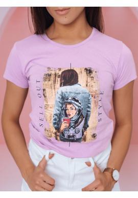 Fialové štýlové tričko s potlačou pre dámy
