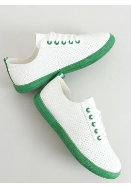 Dámske dierkované tenisky so zelenými prvkami v bielej farbe