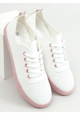 Dierkované dámske tenisky bielej farby s ružovými prvkami