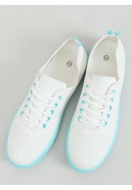 Biele dierkované tenisky s modrými prvkami pre dámy