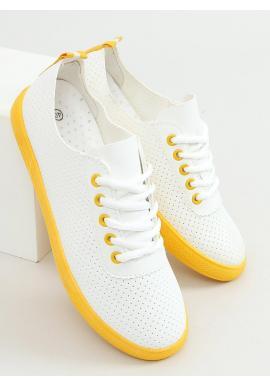 Dámske dierkované tenisky so žltými prvkami v bielej farbe