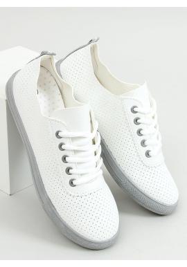 Dierkované dámske tenisky bielej farby so sivými prvkami