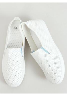 Dámske dierkované tenisky s modrými doplnkami v bielej farbe