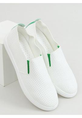 Biele dierkované tenisky so zelenými doplnkami pre dámy